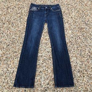LA Idol W33/L34 Bootcut Jeans Flap Pocket Bling